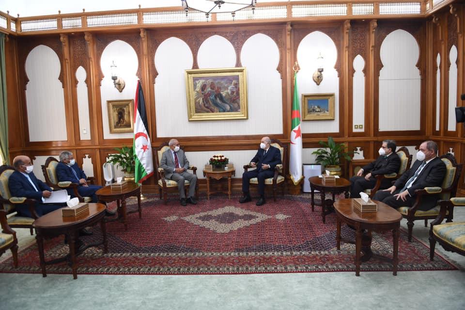 صور استقبال رئيس الجمهورية عبد المجيد تبون للرئيس الصحراوي ابراهيم غالي