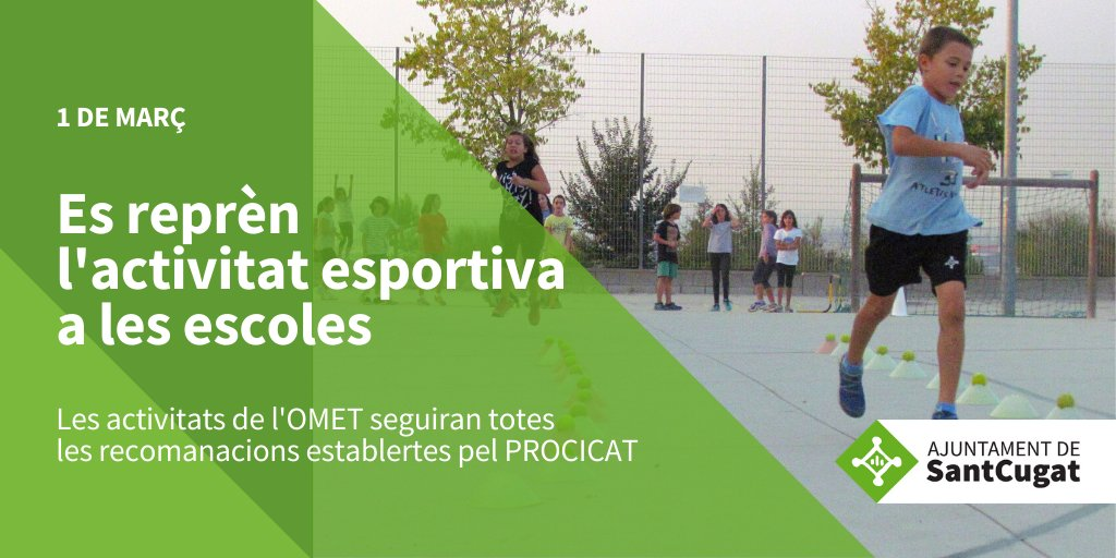 📣ATENCIÓ   🏋️♂️⛹️♀️🏌️♂️Aquest dilluns, 1 de març, reobre l'esport escolar! Més de 1.100 nens i nenes tornaran a practicar el seu esport preferit gràcies al relaxament de les restriccions anunciat pel @procicat   👉 https://t.co/8SLUdqi6Zu  @FrancescCarol @Paidoscat @afes_santcugat