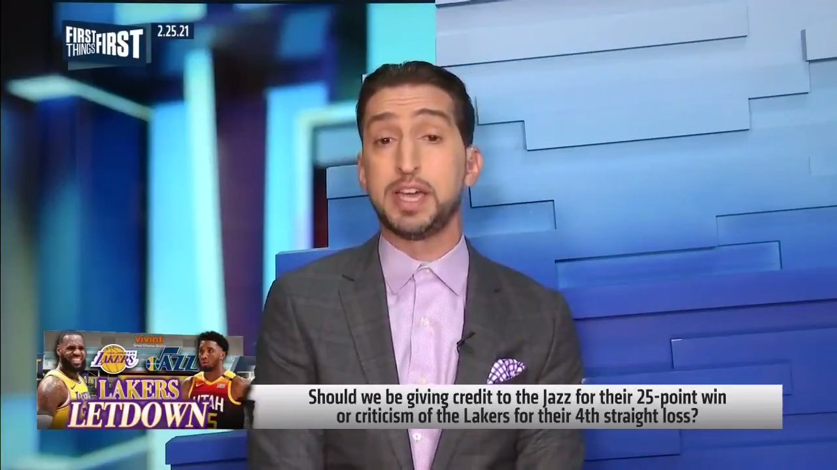 """The Jazz have 0% chance to win the title. ... Without AD, this Lakers team is a lot like that Lonzo, Ingram, Kuzma, LeBron team. If this team shows up in the playoffs they're screwed. But it's not going to be.""  — @getnickwright reacts to the Lakers 4th straight loss"
