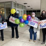 Image for the Tweet beginning: Staff welcoming students back to