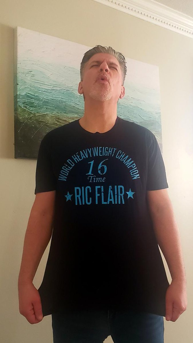 Day 25 of the @BustedOpenRadio #WMTShirtChallenge HAPPY BIRTHDAY @RicFlairNatrBoy . What is your favorite Ric Flair moment?