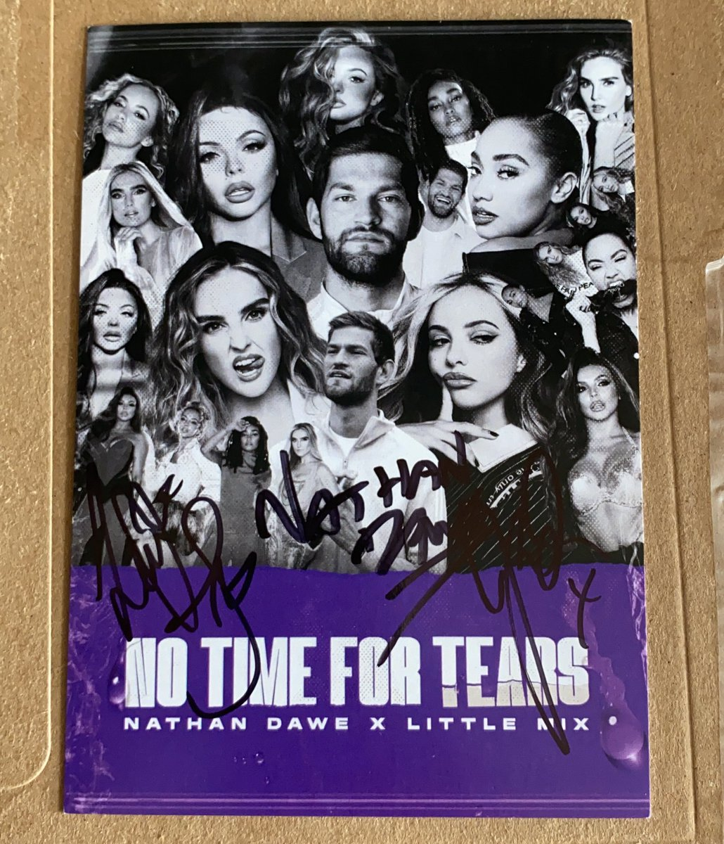 A fan received her no time for tears signed card wich is also signed by the girls!  Credits to: @confettihanny  #notimefortears @LittleMix @NathanDawe