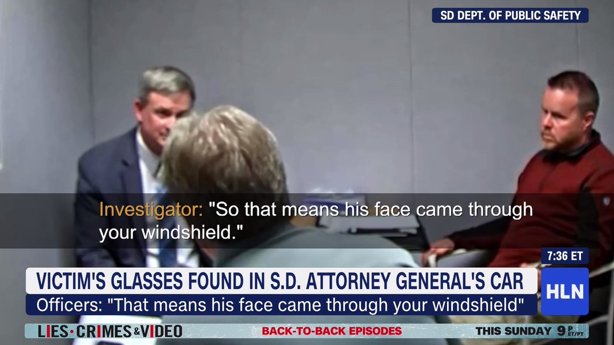 """That means his face came through your windshield."" In new interrogation video, police explain how they believe the glasses of a pedestrian who was struck and killed ended up inside the South Dakota Attorney General's car:"