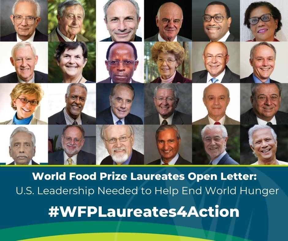 Transforming food systems to address hunger and food insecurity is key to achieving our vision #HealthForAll #HungerForNone. Bayer congratulates @WorldFoodPrize in their recent open letter to @POTUS and @VP to help end World hunger. #WFPLaureates4Action