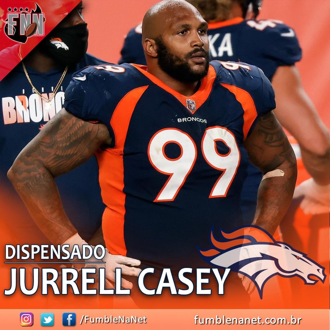 O Denver #Broncos dispensou o DT Jurrell Casey. Uma das trocas mais impressionantes da última offseason, Casey perdeu praticamente uma temporada inteira por lesão e não teve o impacto esperado.  A movimentação abre quase US$ 12 milhões no salary cap do Broncos.  #NFLnaESPN