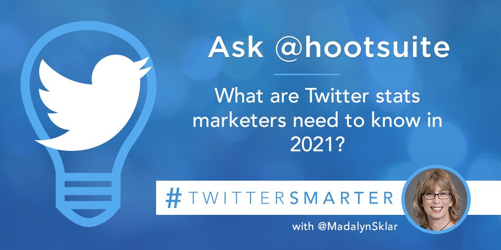 Replying to @MadalynSklar: Ask @hootsuite: What are Twitter stats marketers need to know in 2021? #TwitterSmarter