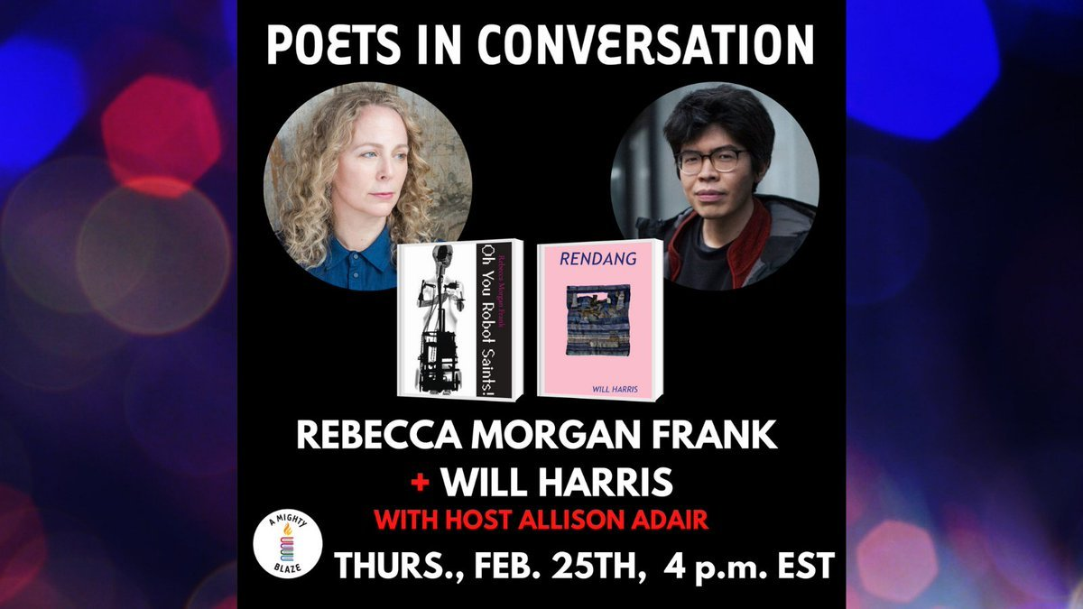 test Twitter Media - Check out  this event today at 4 PM EST––Poets in Conversation, featuring Will Harris (@soshunetwork) and Rebecca Morgan Frank (@poetmorgan), hosted by Allison Adair (@fascicles) and @AMIGHTYBLAZE!  More information here: https://t.co/38Rb2tldKl #WillHarris #RENDANG #poetry https://t.co/8n8wOjWNEK