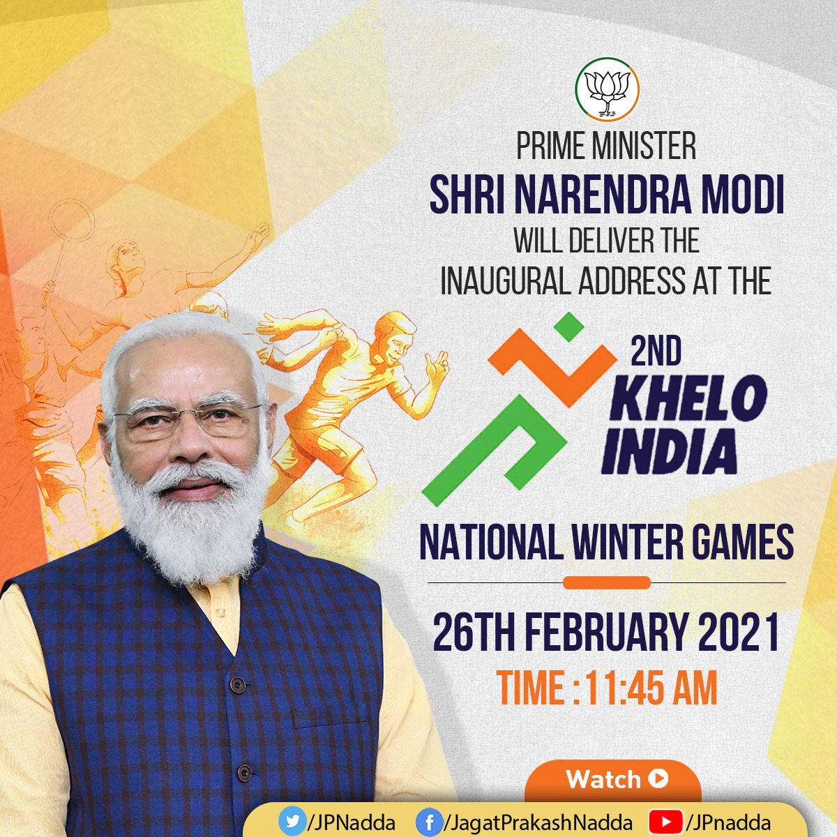 Hon Prime Minister Shri @narendramodi Ji will deliver the inaugural address at the 2nd Khelo India National Winter Games at 11:45 AM tomorrow.