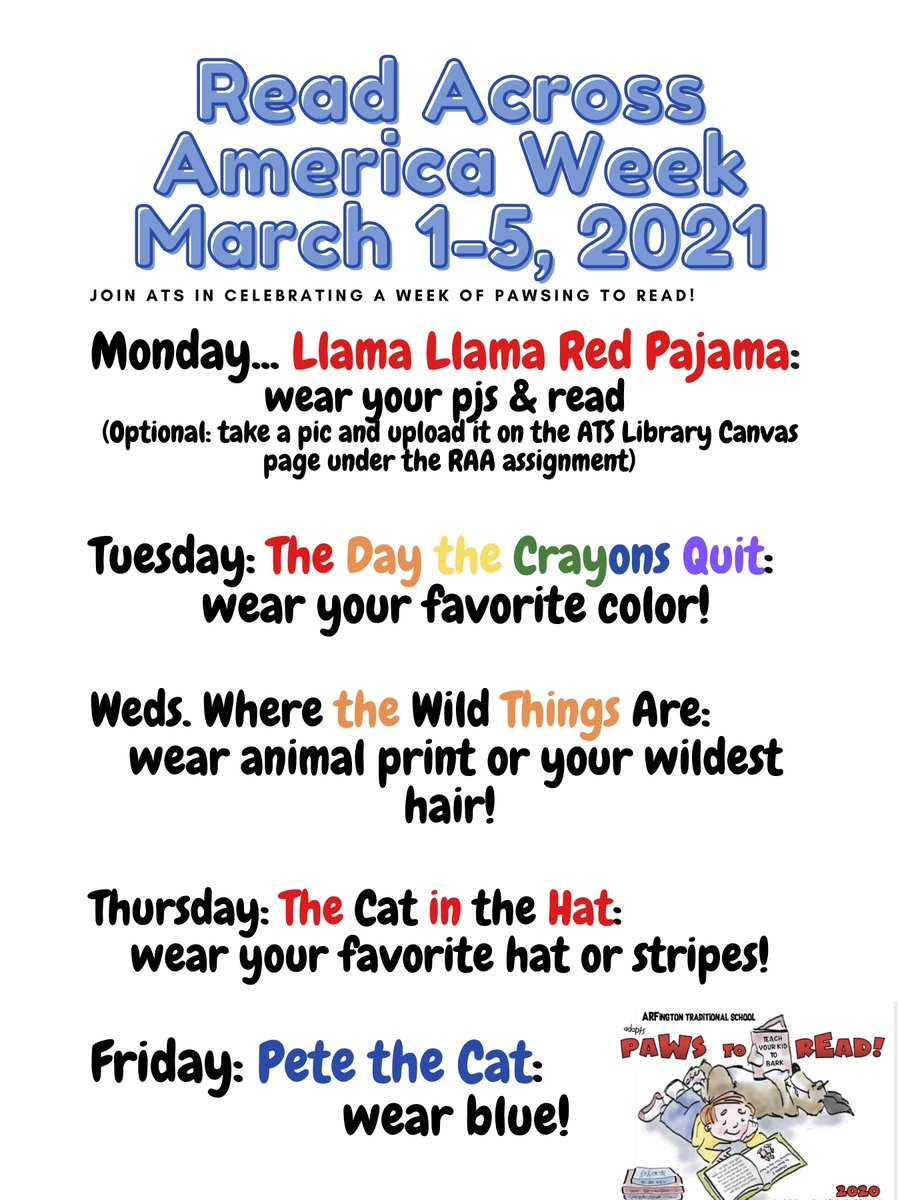 Hello ATS Stars! Next week we will demonstrate our love of reading as we celebrate Read Across America! Please use this daily calendar for ideas of how you can dress up and show your spirit! <a target='_blank' href='http://twitter.com/APS_ATS'>@APS_ATS</a> <a target='_blank' href='http://twitter.com/APSLibrarians'>@APSLibrarians</a> <a target='_blank' href='http://twitter.com/ats_readingroom'>@ats_readingroom</a> <a target='_blank' href='http://search.twitter.com/search?q=ReadAcrossAmerica'><a target='_blank' href='https://twitter.com/hashtag/ReadAcrossAmerica?src=hash'>#ReadAcrossAmerica</a></a> <a target='_blank' href='https://t.co/FAUQV9cjq2'>https://t.co/FAUQV9cjq2</a>