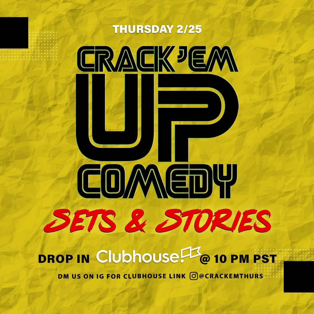 Join us on Clubhouse TONITE!! DM us here or on Instagram for link! 10P (PST) #iphoneonly📲🤩