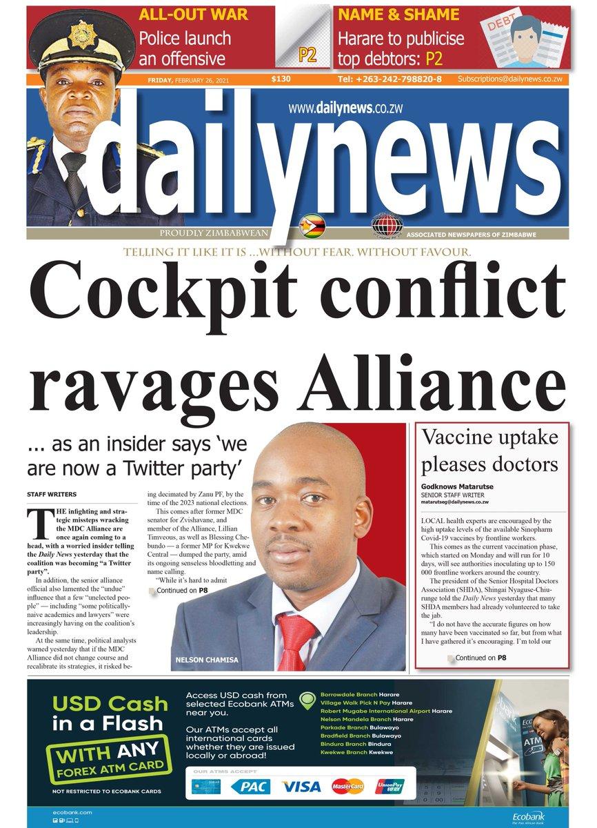 TODAY'S FRONT PAGE:  FRIDAY 26 FEBRUARY 2021  . . #dailynewszim #news #zimbabwe #zimnews #lockdown #COVID19 #MaskUpZimbabwe #Friday #coronaviruszim