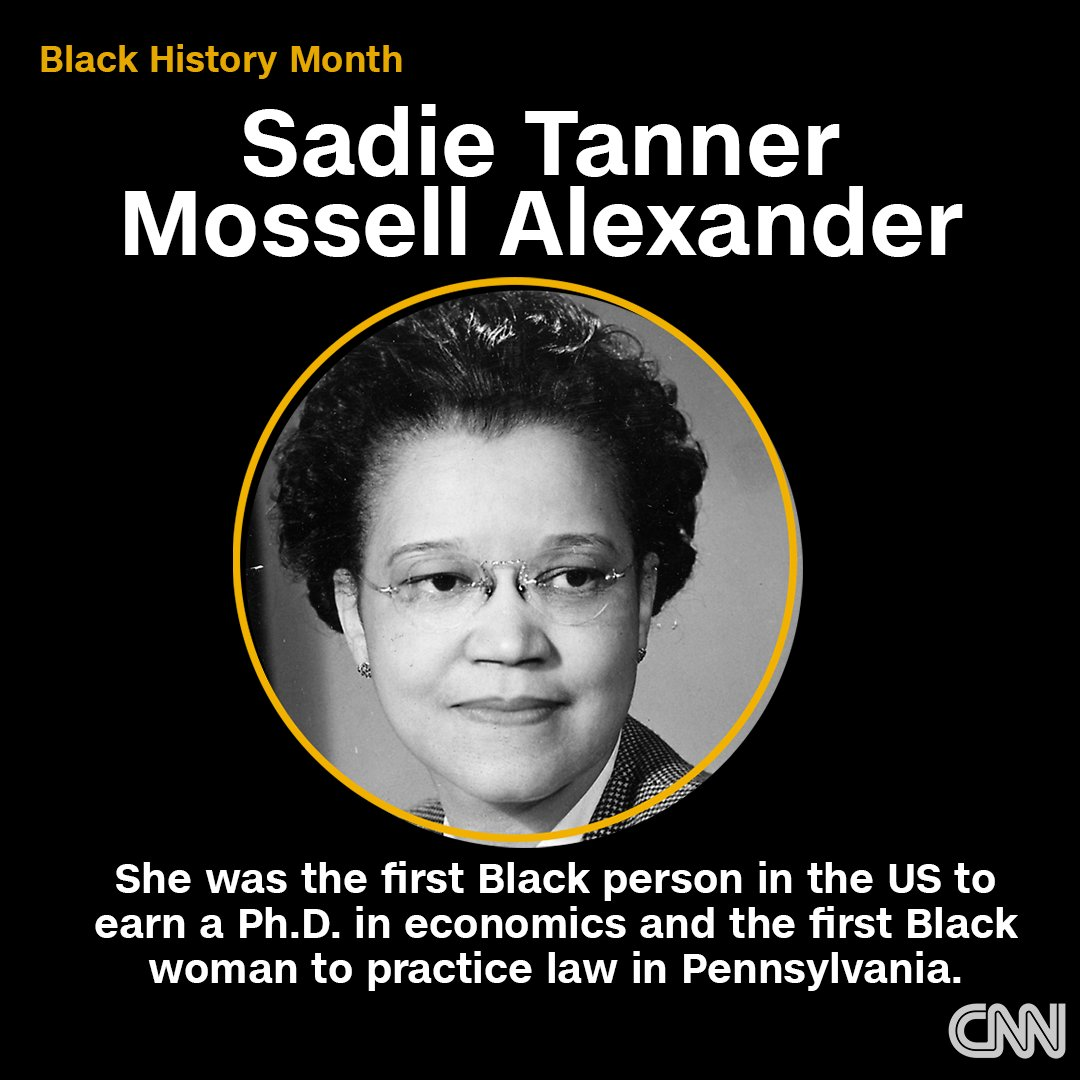 Sadie Tanner Mossell Alexander was the first Black person in the nation to earn a Ph.D. in economics in 1921. Three years later, she earned a law degree and went on to become the first Black woman to pass the Pennsylvania bar and practice law in the state.