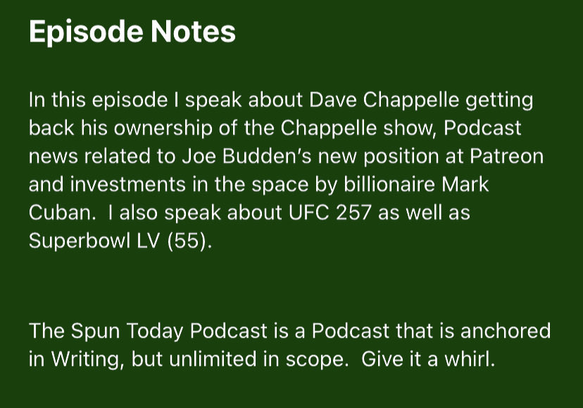 Check out episode 174 yet?  Here's what's in it:  iTunes:   Spotify:   #SpunToday #Podcast #DaveChappelle #UFC257 #SuperBowl #TomBrady #PodcastNews #JoeBudden #MarkCuban #Fireside #PodernFamily