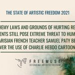 Image for the Tweet beginning: Freemuse's report on the #StateofArtisticFreedom2021