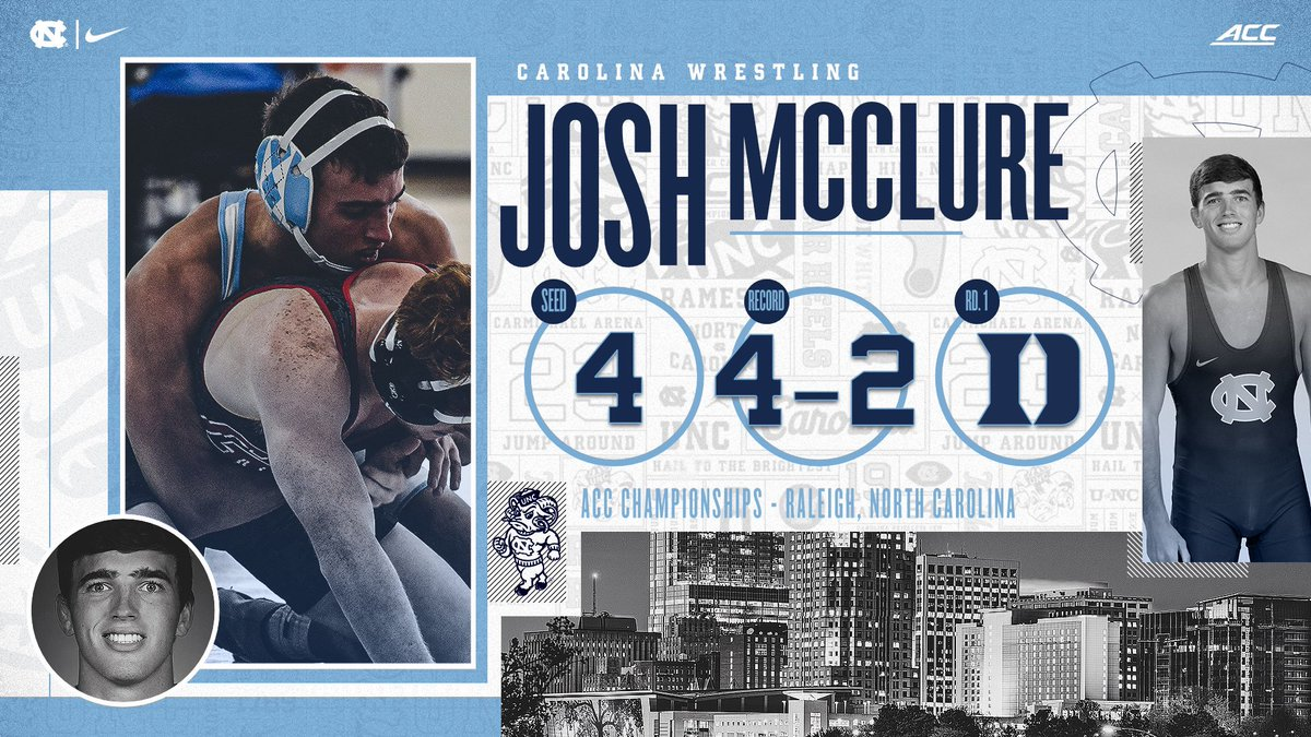 Josh McClure (157) will wrestle in his final ACC Wrestling Championship on Sunday. He'll look to qualify for his second NCAAs.   #GoHeels | #WeWantMore