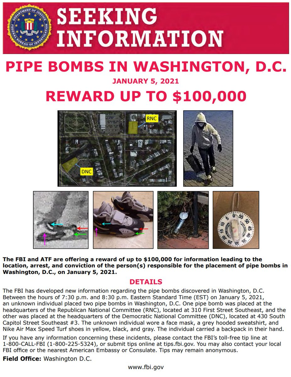 #FBIWFO is still seeking info about pipe bombs placed in DC between the hours of 7:30 - 8:30 p.m. on Jan. 5. The @FBI & @ATFWashington reward totals $100K. If you have info call 1800CALLFBI or submit online at .
