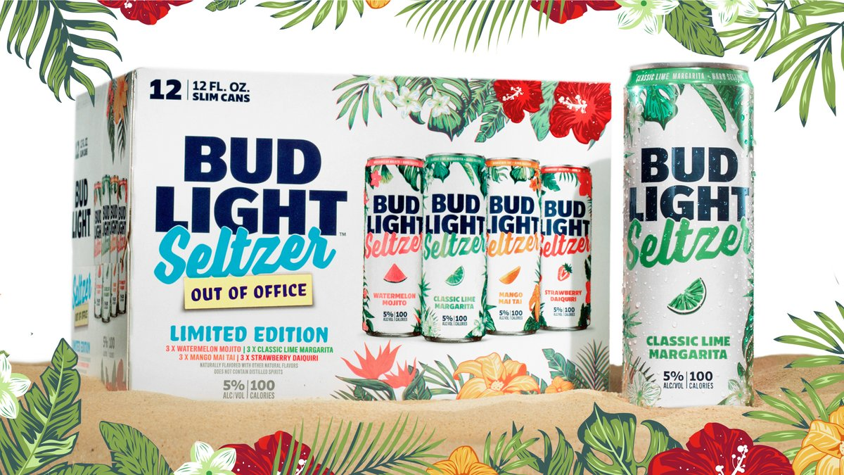 #TasteTimeOff with the new Bud Light Seltzer Out of Office Variety Pack! Featuring flavors of Classic Lime Margarita, Strawberry Daquiri, Mango Mai Tai, and Watermelon Mojito, this limited time pack combines the refreshment of seltzer with the taste of classic vacation drinks.