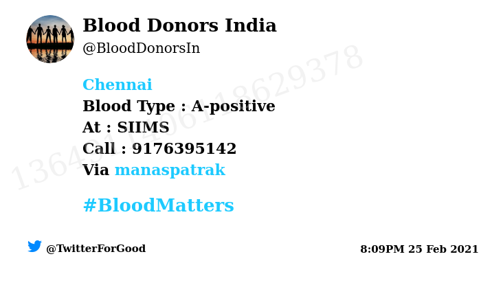 #Chennai Need #Blood Type :  A-positive At : SIIMS Blood Component : Blood Number of Units : 5 Primary Number : 9176395142 Secondary Number : 8939250697 Patient : R. kameswaran Via: @manaspatrak #BloodMatters Powered by Twitter