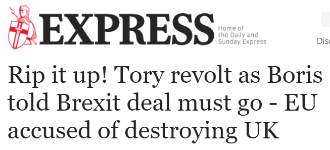 """The ERG says the Brexit deal they supported to """"Get Brexit Done"""" is now """"destroying the UK"""".  This is real life. You're not hallucinating."""