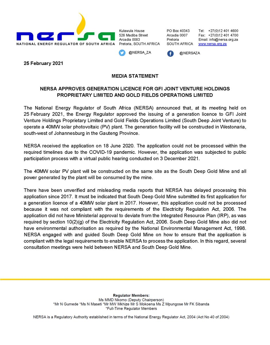 Media Statement - NERSA approves generation licence for GFI joint venture Holdings Proprietary Limited and Gold Fields Operations Limited.