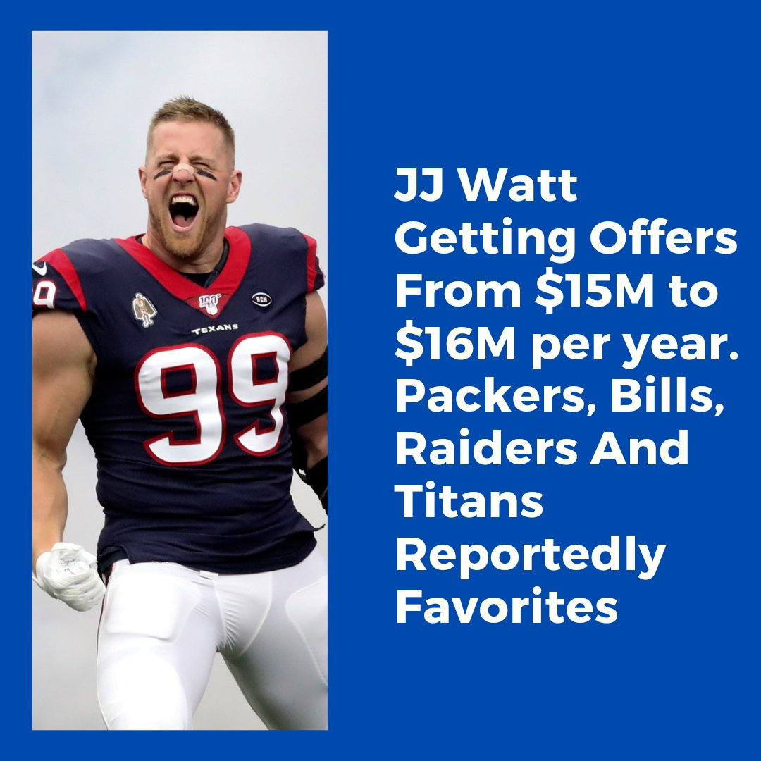 The former @HoustonTexans DE will be paid this off-season, question is were will he go? The @Raiders @Titans @packers and @BuffaloBills are all reportedly favorites to land the future Hall of Famer. #NFL #Titans #Packers #Raiders #Bills #BillsMafia #JJWatt