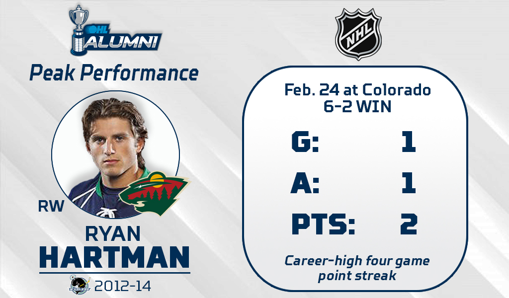 #OHLAlumni Peak Performance:  Former Plymouth Whaler Ryan Hartman (@RHartzy18) continued his hot streak Wednesday night with a goal and an assist as #mnwild picked up a fourth straight win.