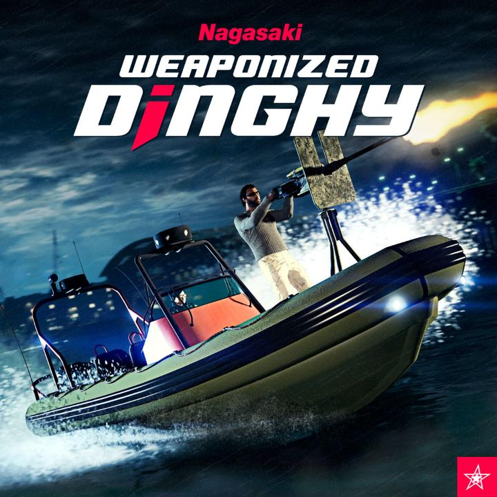 Patrol unfriendly waters and mount an amphibious assault with the Nagasaki Weaponized Dinghy's front-mounted .50 cal gun, now available for civilian purchase from Warstock Cache & Carry.   Plus, don't forget to claim the Dinka Verus, free until March 3rd: