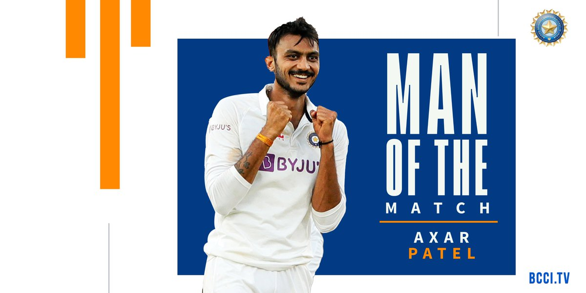 Local boy gets top honours 🔝  A total of 1️⃣1️⃣ wickets in the match 👌🏻   Congratulations to @akshar2026 👏👏  #TeamIndia #INDvENG #PinkBallTest @Paytm