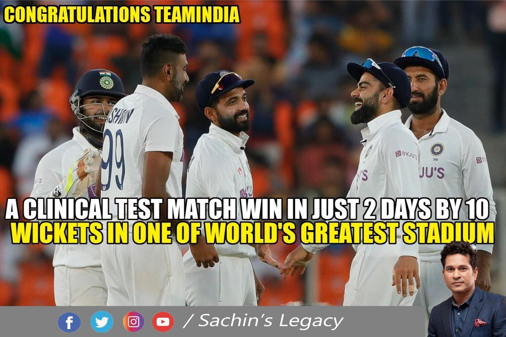 Congratulations #indiancricketteam on a clinical test match win at #NarendraModiStadium #Ahmedabad #INDvENG #PinkBallTest   -A post from @sachin_rt pakistani fan page