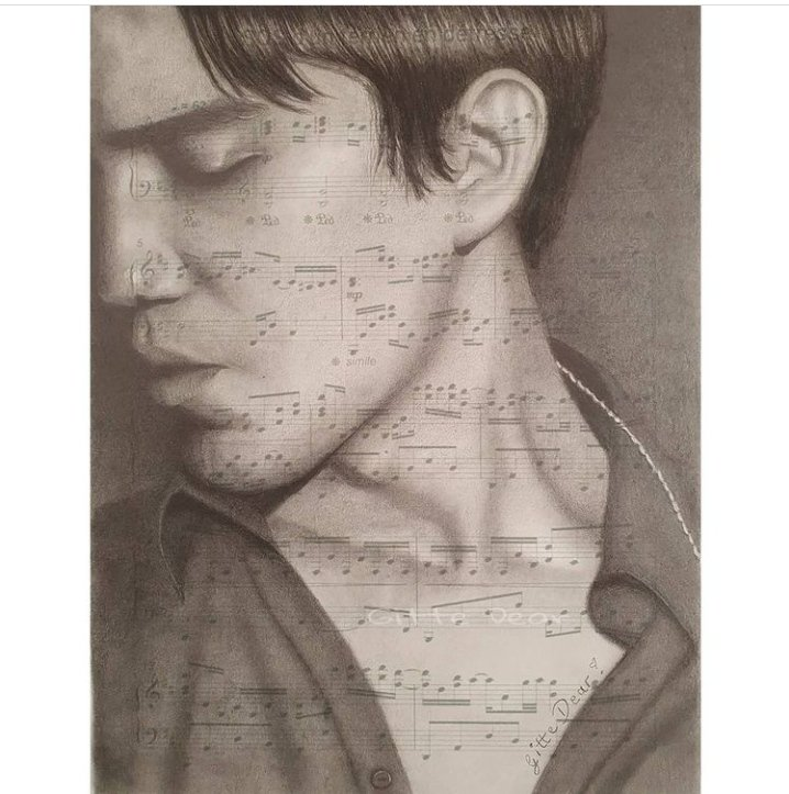 """@dimash_official 💖  """"After a long time another picture by me. I hope you like it. I used a sheet of music from SOS as paper. I thought that might look nice"""". 😊  Beautiful art work 🎨 👏👏❤️  #repost  @gitte_dear 🙏💗    #dearsdimash #dimashtheworldsbest"""