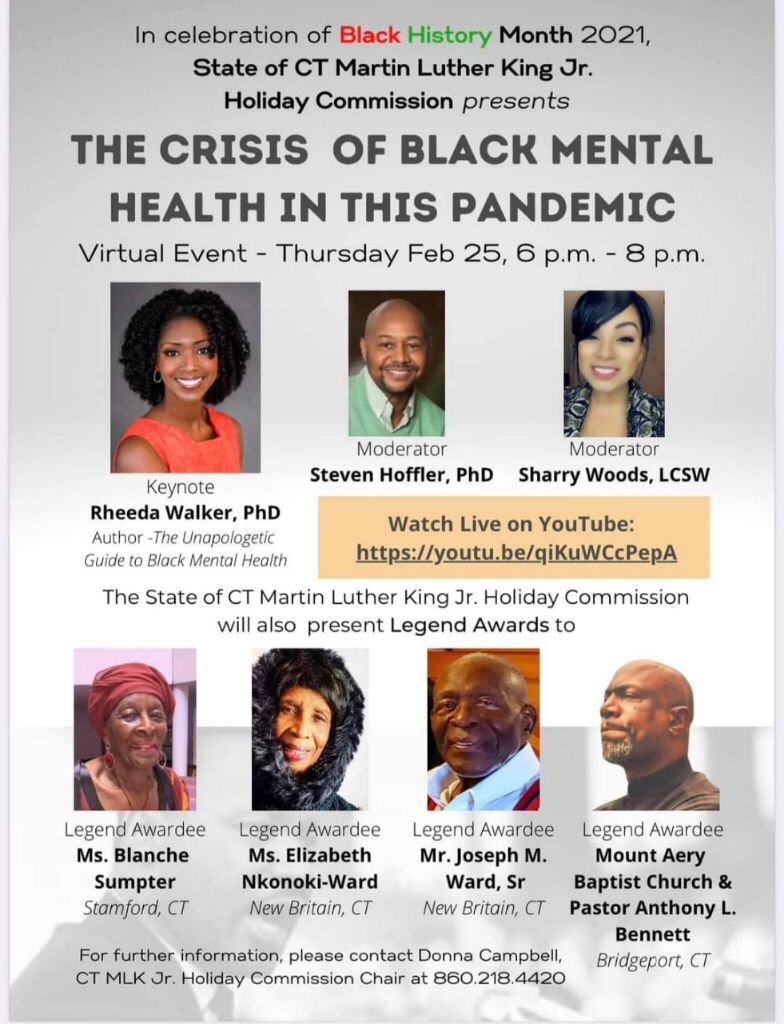 I am so honored to keynote this conversation for the state of Connecticut. Join us TODAY at 6pm ET.  #blackempowerment #blackhistorymonth #blackmentalhealth #blackmentalhealthmatters #blackmentalwellness #crisis #pandemic #covid_19 #covid #connecticut #mlk #mlkday