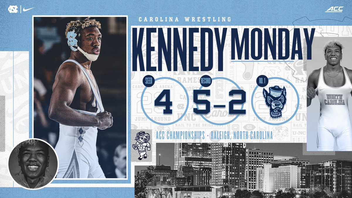 Kennedy Monday (165) is set for the ACC tournament! He's 5-2 on the season. Monday is looking to compete at NCAAs for the first time since he wrestled in the Round of 12 at the 2018 NCAAs.   #GoHeels | #WeWantMore