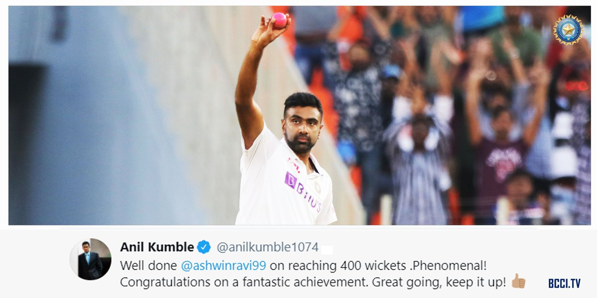 """PHENOMENAL"" says one legend about the ""modern day"" legend 🔝👌🏻  @anilkumble1074 showers praise on off-spinner @ashwinravi99 😃  #TeamIndia #INDvENG #PinkBallTest @Paytm"