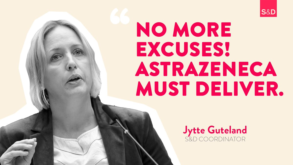💉@AstraZenecas shortfall of #COVID19Vaccine to the European Union - 60% below the agreed quotas - is simply unacceptable! In EP hearing, S&Ds @JytteGuteland presses AstraZeneca CEO Pascal Soriot to urgently fix the shameful shortcomings. Words must now be turned into deeds.