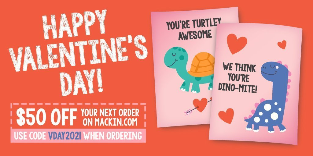 """We're still feeling the #ValentinesDay love 🥰  Take $50 off of your next  order of $500 with code """"VDAY2021""""! That's $50 off of #makerspace products, books, @MackinVIA eBook titles, and more!  Offer expires 3/15."""