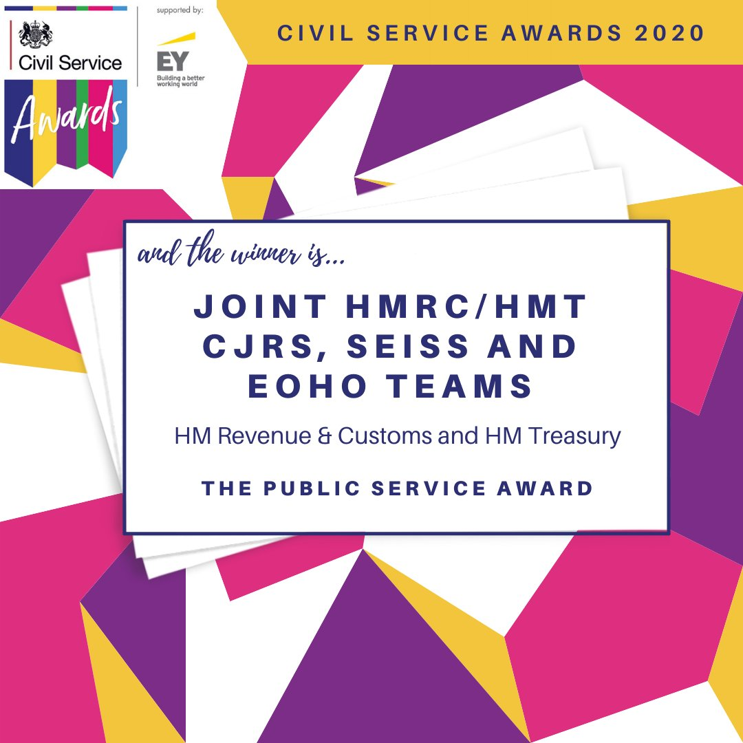 Congratulations to joint CJRS, SEISS and EOHO teams from HM Treasury and HM Revenue & Customs for winning the Public Service Award! #CSAwards