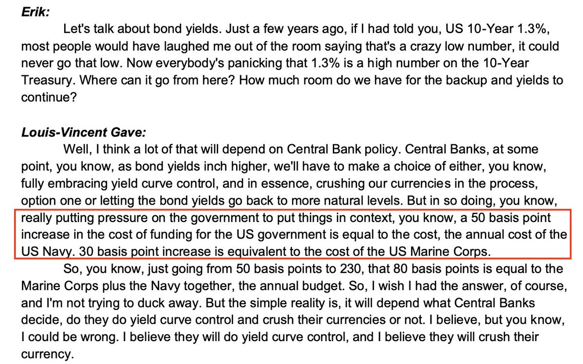 my mind was blown when I heard this from louis vincent gav on @MacroVoices. in one stat: why the US government cannot afford for rates to rise