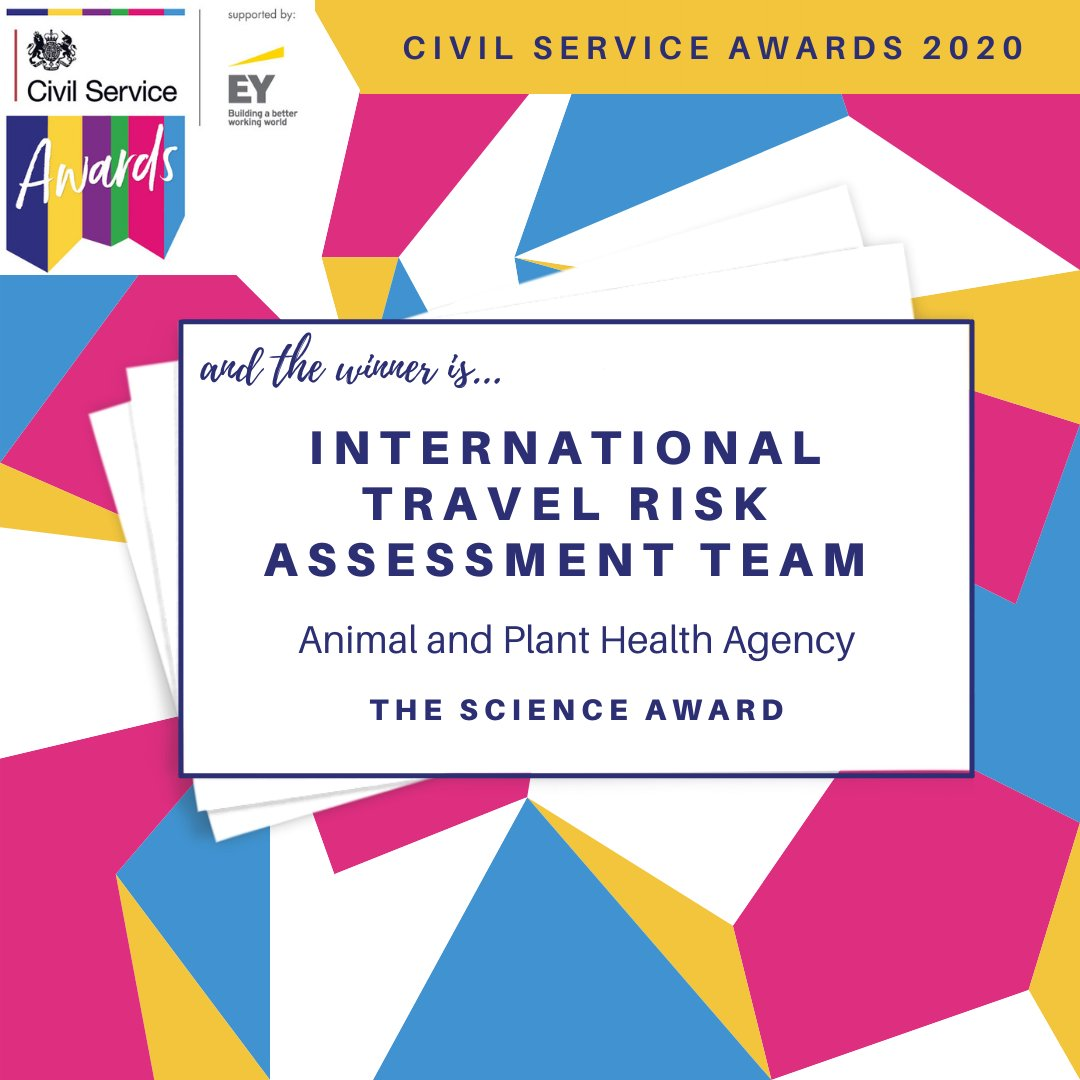Last but certainly not least, the Science Award goes to the International Travel Risk Assessment Team in the Animal and Plant Health Agency. Very many congratulations! #CSAwards https://t.co/KTtGbI0lqH