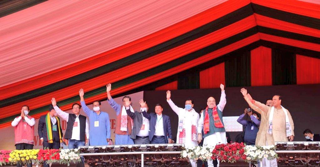 Minister and NEDA Convenor Shri @himantabiswa, @BJP4Assam President Shri @RanjeetkrDass, BJP Prabhari Shri @PandaJay, KAAC CEM Shri @TuliramRonghang, NCHAC CEM Shri Debolal Gorlosa, MP Shri @horensingbey and other dignitaries were present.