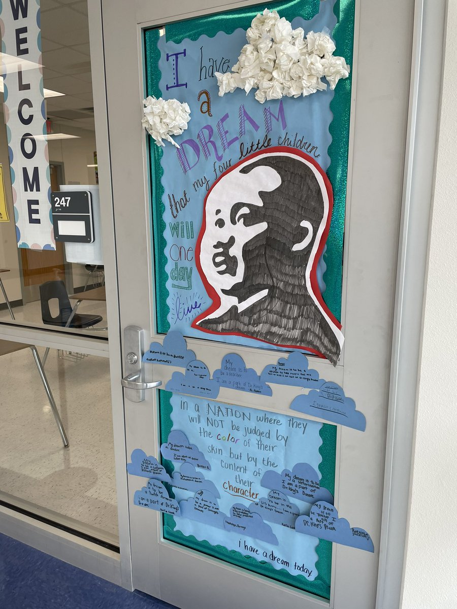 Our Door is finally complete for Black History Month! @edwalkerms @dallasschools @DISDREO  Every student wrote their dream and how they are a living part of Dr King's dream! #DrMartinLutherKing #IHaveADream #WeTeachDreamers #WeTeachTheFuture