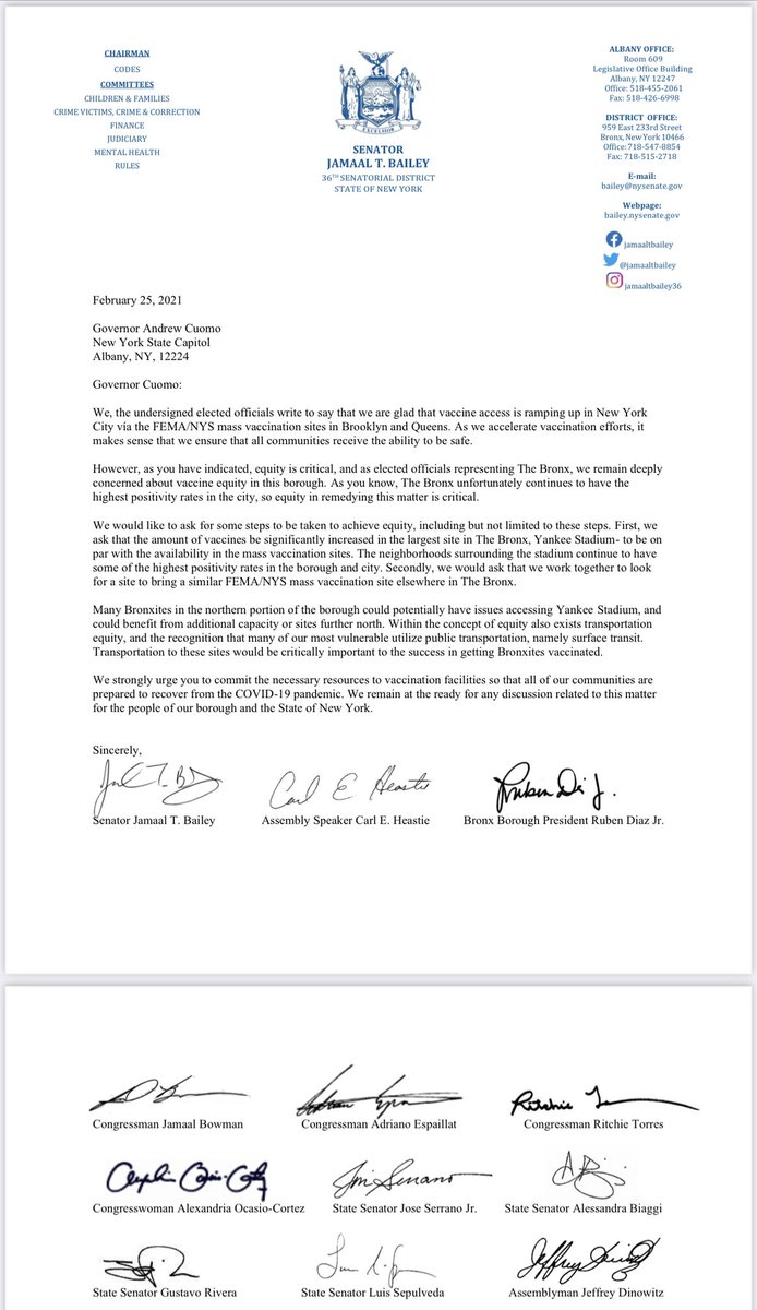 @NYGovCuomo- as you've noted- vaccine equity is critical. That's why the entire Bronx Delegation- Federal, State and City- have all signed on to this letter requesting you assist us to immediately obtain more vaccines in our borough- the hardest hit in NYC by COVID-19.