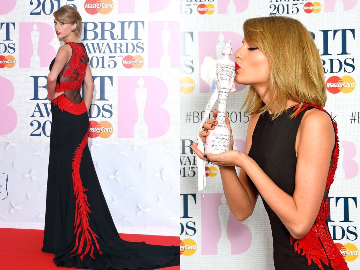 "6 Years ago today, Taylor Swift attended and performed (Blank Space"") at the 2015 BRIT Awards where she also won her first ever #BRITs award for ""International Female Solo Artist."""