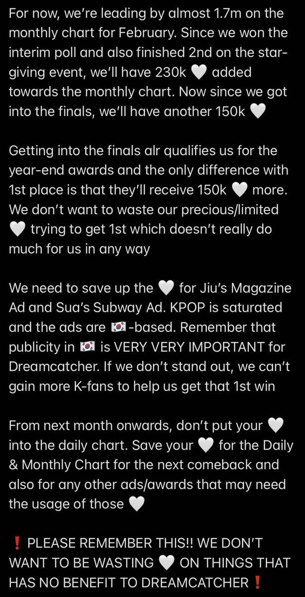 This will be VERY IMPORTANT for all Somnias to READ❗️  Since we got into the finals, we don't need to waste our 🤍 on the event any longer☝🏻☝🏻☝🏻  Fighting for #1 against KD will only drain our precious/limited votes to win ads/awards for later this year  #Dreamcatcher #드림캐쳐