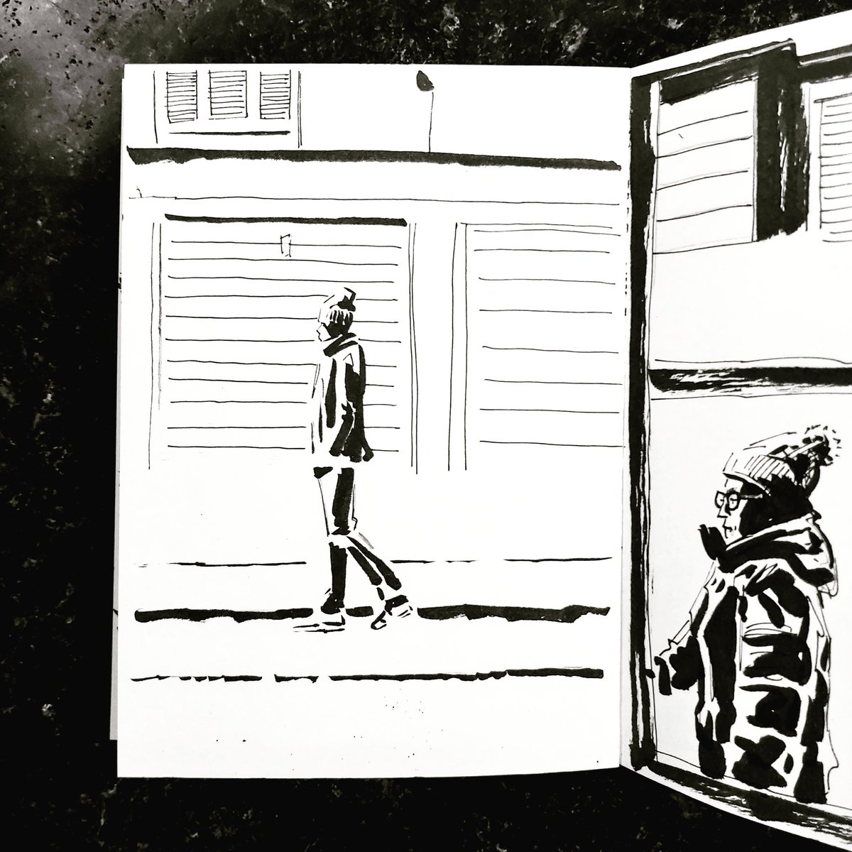 From the Inside 2 Day 113 (262 total) #isolation study Kitchen window Passerby No 153 #isolationlife #stayathome #lockdown #lockdown2uk #sketchbook #sketch #drawing #draw #doodle #ink #lineart #lifedrawing #figuredrawing #walk #artoftheday #art #artwork #artist #illustration
