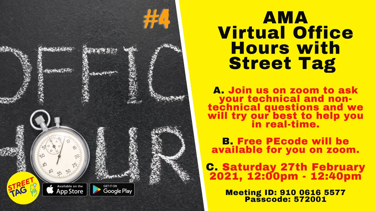 RT @streettaghq: Our next AMA Virtual Office Hours with Street Tag will be this Saturday. Save the details, pop in for support.