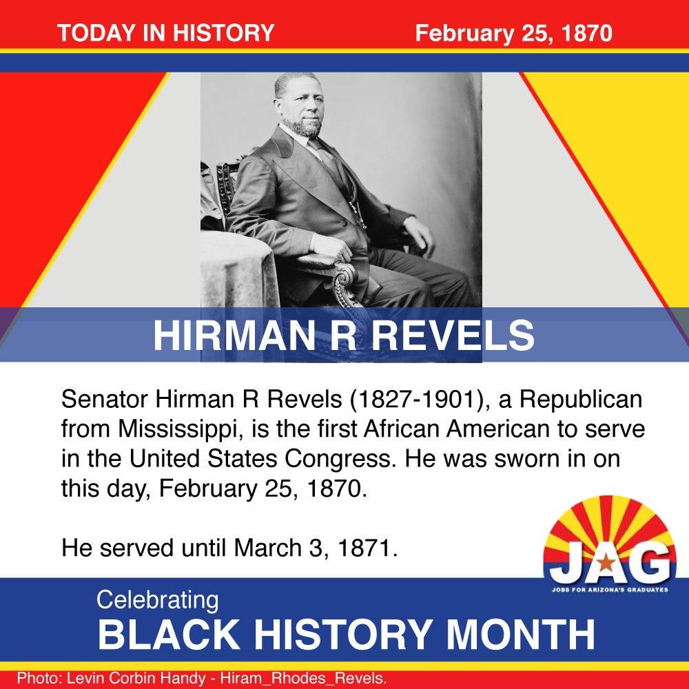 Celebrating #BlackHistoryMonth. #Onthisday Hirman R Revels was sworn in as Americas first black congressional representative on February 25, 1870. See more firsts at