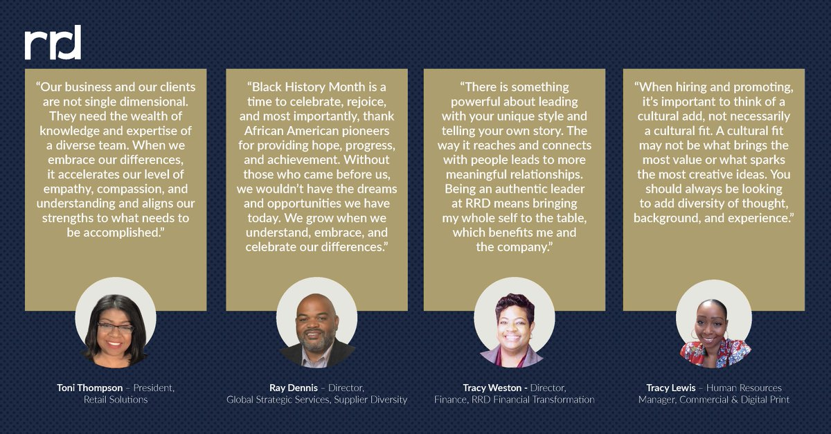 During our recent panel discussion celebrating #BlackHistoryMonth, RRD employees shared personal perspectives on diversity, careers, and what it means to be an authentic leader. See what they had to say: