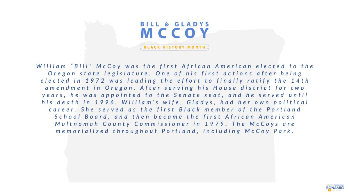 """William """"Bill"""" McCoy was the first African American elected to the Oregon state legislature. His wife, Gladys, had her own political career.   To learn more about the McCoy family, visit:   #BlackHistoryMonth"""
