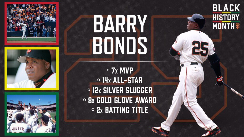 7x MVP 14x All-Star 12x Silver Slugger 8x Gold Glove 2x Batting Title  On the 25th day of #BlackHistoryMonth we recognize number 2️⃣5️⃣, @BarryBonds.
