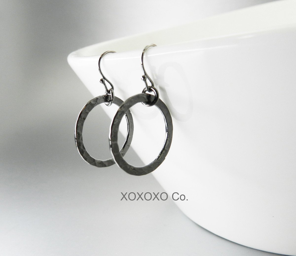 Black Hoop Earrings Gunmetal Hammered Metal Hoops Circle Drops  #handmadejewelry #Etsy #jewelryblogger #handmade #christmasgifts #giftsforher #shopsmall #style #fashion